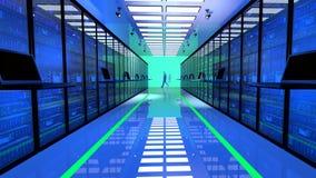 Den slutliga bildskärmen i serverrum med serveren racks i datacenter Arkivbild