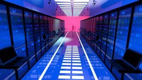 Den slutliga bildskärmen i serverrum med serveren racks i datacenter Fotografering för Bildbyråer