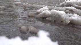 Den smältande snövåren strömmar bakgrund arkivfilmer
