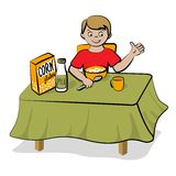 Den små pojken har en frukost vektor illustrationer