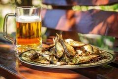 Den smakliga rökte sillen ligger på en platta med exponeringsglas av kallt öl Arkivfoto