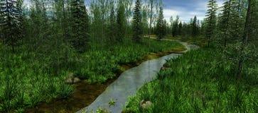 Den smala floden som omges av gröna träd Royaltyfri Fotografi