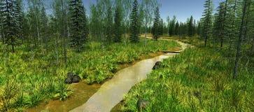 Den smala floden som omges av gröna träd Royaltyfri Foto