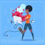 Den Smart för cellen för hållen för afrikansk amerikanflickabloggeren telefonen med många gillar den populära Vlog för den modern vektor illustrationer