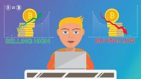 Den smarta affärsmannen som gör köpandecryptocurrencyoperationer, säljer höjdpunkt, köper bottenläge royaltyfria bilder
