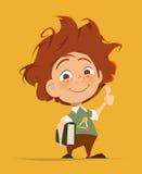 Den smarta gulliga ungen med boktummar fingrar upp Arkivbild