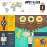 Den smarta klockainfographicsuppsättningen, vektorbeståndsdelar för smartwatchmeny och app planlägger i infographics Royaltyfria Bilder