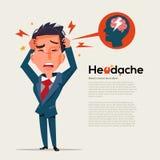 Den smarta mannen får huvudvärk - sjukvård- och migränbegreppet - vectoen Royaltyfri Bild