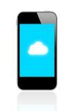 Den smarta telefonen förbinder molnberäkning royaltyfria bilder