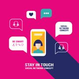 Den smarta telefonmobilen med användaresymbolen och anförande bubblar Fotografering för Bildbyråer