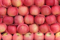 Den smaskiga stapeln av äpplen bär fruktt i en marknad Arkivbild
