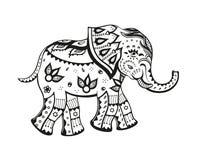 Den smyckade person som tillhör en etnisk minoritet behandla som ett barn elefanten Arkivfoton