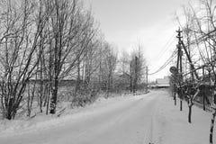 Den snöig vintern landskap Arkivfoton
