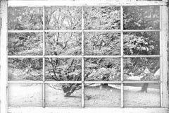 Den snöig vinterplatsen till och med gammalt slagit fönster förser med rutor Fotografering för Bildbyråer