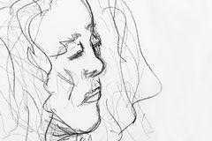 Den snabba blyertspennan skissar av kvinna Arkivbild