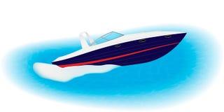 Den snabba motorbåten seglar på hastighet till och med havet Det lyxiga fartyget för aktiv vilar isolerat på en vit bakgrund vektor illustrationer