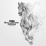 Den snabbt växande hästen, många partiklar, skissar, vektorillustrationen, royaltyfri illustrationer