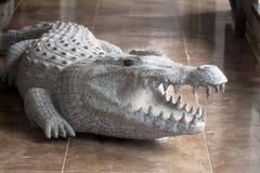 den sned krokodilen ut skulpterar stenen Arkivbild