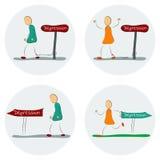 Den sociala fobit får i väg från alla ögon Stock Illustrationer