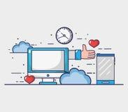 Den sociala massmediabeståndsdelen till internet förbinder stock illustrationer