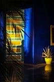 Den solbelysta blåa dörren med gömma i handflatan Arkivbild