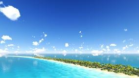 Den soliga tropiska ön med gömma i handflatan 3D framför Royaltyfri Fotografi