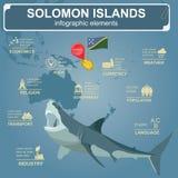 Den Solomon Island infographicsen, statistiska data, siktar Arkivfoton