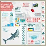 Den Solomon Island infographicsen, statistiska data, siktar Royaltyfri Fotografi