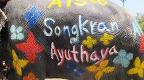 Den Songkran festivalen firas med elefanter i Ayutthaya Arkivfoto