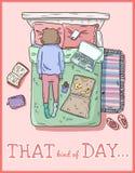 Den sort av dagen PMS tr?ttad flicka Rör till hemma Komisk stilbild royaltyfri illustrationer