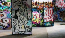 Den Southbank skridskon parkerar grafitti Fotografering för Bildbyråer