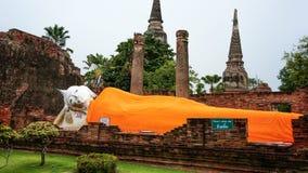 Den sova Buddha i Ayutthaya Thailand Arkivbild