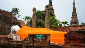 Den sova Buddha på Ayutthaya Thailand Royaltyfri Foto