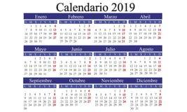 Den spanska kalendern 2019, calendar det nya året, kalenderåret 2019, ca royaltyfri illustrationer