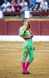Den spanska tjurfäktareJuan Jose Padilla bullfightingen på tjurfäktningsarenan av Andújar arkivfoto