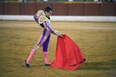 Den spanska tjurfäktaren Jose maria Manzanares, tjurfäktning på den Andujar tjurfäktningsarenan royaltyfria bilder