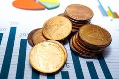 Den sparande bunten myntar pengardiagramgrafer Finansiell utveckling som packar ihop redovisning, data för forskning för statisti Fotografering för Bildbyråer