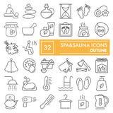 Den Spasauna linjen symbolsuppsättningen, avkopplingsymboler samlingen, vektor skissar, logoillustrationer, linjärt salongtecken Arkivbild