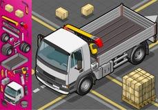 Den isometriska behållaren åker lastbil beskådar framme vektor illustrationer