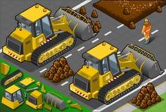 Den isometriska gula bulldozeren i baksida beskådar royaltyfri illustrationer