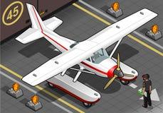 Isometrisk jordägande Seaplane ut ur Hangar Royaltyfria Foton