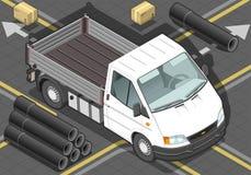 Den isometriska vitskåpbilen beskådar framme vektor illustrationer