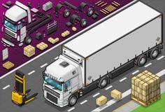 Isometriska Frigo åker lastbil beskådar framme royaltyfri illustrationer
