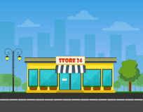 Den specificerade vektorn shoppar eller lagrar eller marknadsför på cityscapebakgrund Royaltyfria Bilder