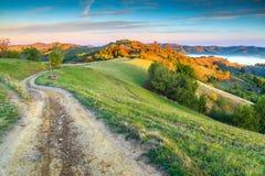 Den spektakulära hösten färgar med den dimmiga dalen, Holbav, Transylvania, Rumänien, Europa royaltyfria bilder