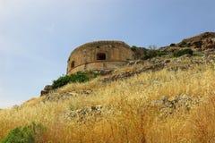 Den Spinalonga ön, Kreta, Grekland övergav tornet Royaltyfria Foton