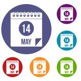 Den spiral kalendersidan 14th av Maj symboler ställde in Royaltyfri Bild
