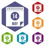 Den spiral kalendersidan 14th av Maj symboler ställde in sexhörning Arkivbild