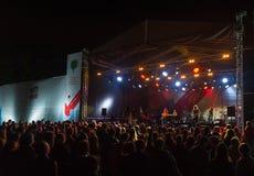 Den splitterny tungt artillerigruppen utför på Usadba Jazz Festival Arkivfoton