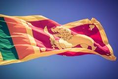 Den srilankesiska flaggan böljer i vinden Arkivbild